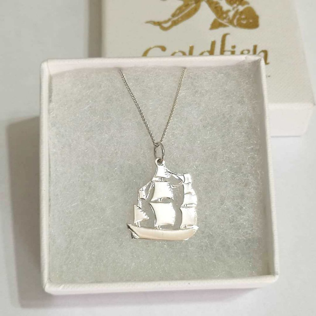 Sterling Silver Ship Pendant - Goldfish Jewellery Design Studio