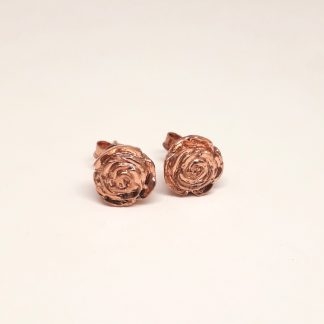 9ct Rose Gold 3D Rose Earrings - Goldfish Jewellery Design Studio