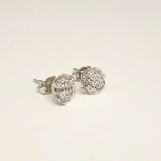 9ct White Gold 3D Rose Earrings - Goldfish Jewellery Design Studio