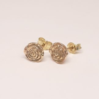 9ct Yellow Gold 3D Rose Earrings - Goldfish Jewellery Design Studio