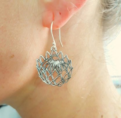 Sterling Silver Cut-Out Protea Earrings - Goldfish Jewellery Design Studio
