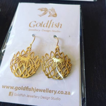 Yellow Gold Plated Cut-Out Protea Earrings - Goldfish Jewellery Design Studio