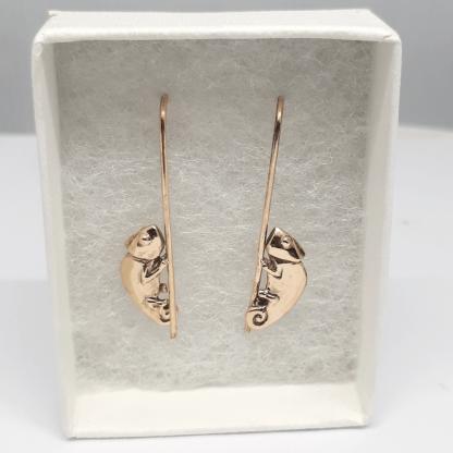 9ct Yellow Gold Chameleon Earrings - Goldfish Jewellery Design Studio