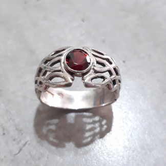Sterling Silver Celtic Dome Garnet Ring - Goldfish Jewellery Design Studio