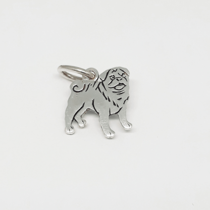Sterling Silver Pug Charm - Goldfish Jewellery Design Studio