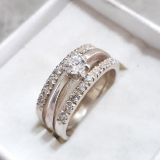 Sterling Silver Triple Set Eternity Ring with Cubic Zirconia - Goldfish Jewellery Design Studio