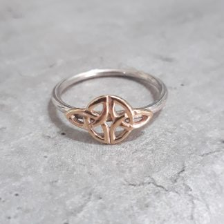 Sterling Silver with 9ct Gold Celtic Weave Stack Ring - Goldfish Jewellery Design Studio
