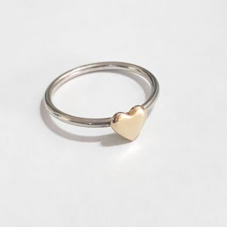 Sterling Silver with 9ct Gold Heart Stack Ring - Goldfish Jewellery Design Studio
