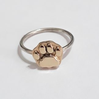 Sterling Silver with 9ct Gold Lion Paw Stack Ring - Goldfish Jewellery Design Studio
