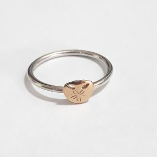 Sterling Silver with 9ct Gold Pansy Shell Stack Ring - Goldfish Jewellery Design Studio