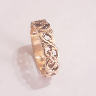 9ct Gold Thin Filigree Leaf Ring - Goldfish Jewellery Design Studio