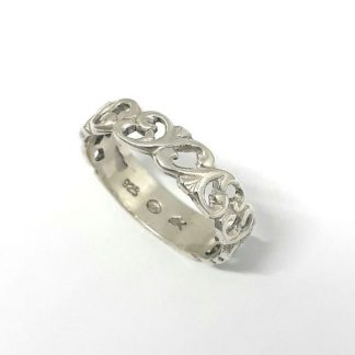 Sterling Silver Thin Filigree Leaf Ring - Goldfish Jewellery Design Studio