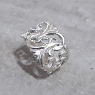 Sterling Silver Wide Filigree Leaf Ring - Goldfish Jewellery Design Studio