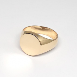 9ct Yellow Gold Round Signet Ring - Goldfish Jewellery Design Studio