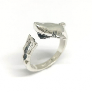 Sterling Silver Wraparound Diver and Shark Ring - Goldfish Jewellery Design Studio