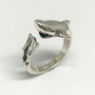Sterling Silver Wraparound Shark and Diver Ring - Goldfish Jewellery Design Studio