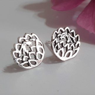 Sterling Silver Dainty Cutout Protea Studs
