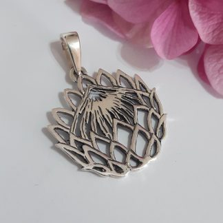 Sterling Silver Large Cutout Protea Pendant