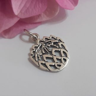 Sterling Silver Small Cutout Protea Charm