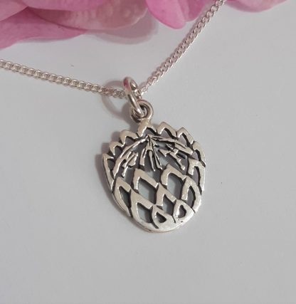 Sterling Silver Small Cutout Protea Charm on Chain