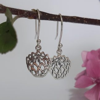 Sterling SIlver Small Cutout Protea Hook Earrings