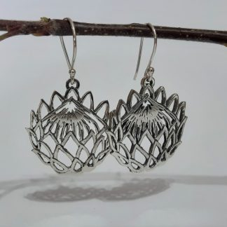 Sterling Silver Large Cutout Protea Hook Earrings