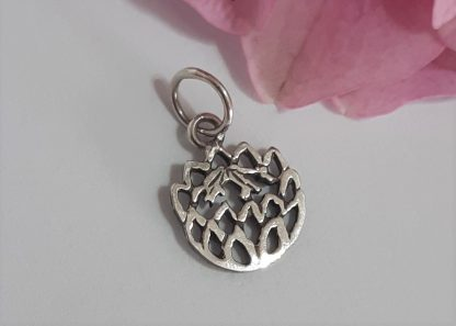 Sterling Silver Dainty Cutout Protea Charm