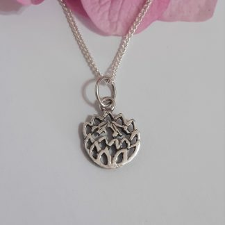 Silver Dainty Cutout Protea Charm on Chain