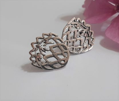 Sterling Silver Cutout Protea Studs