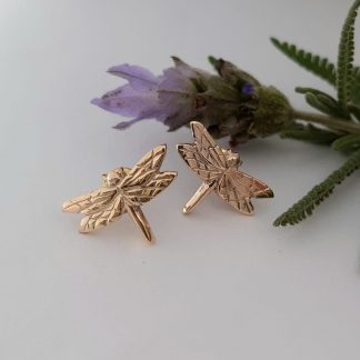 Gold Dragonfly Earrings Studs made in South Africa