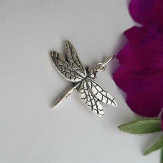 Silver medium dragonfly charm