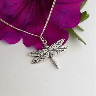 Silver medium dragonfly charm on chain