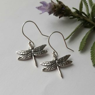 Sterling Silver medium Dragonfly hook earrings