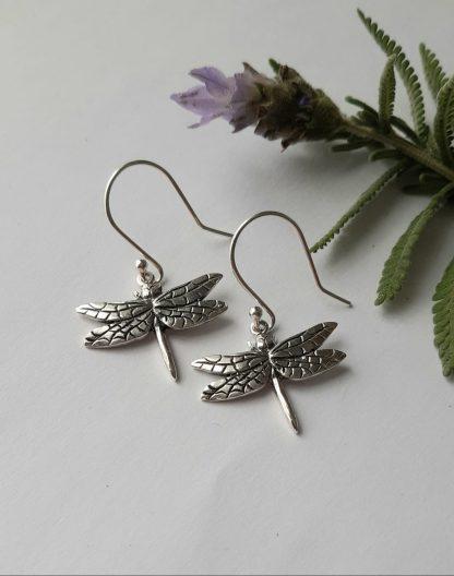Sterling Silver medium Dragonfly hook earrings