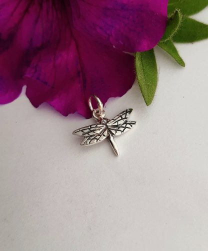 Silver small dragonfly charm