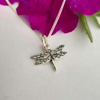 Silver small dragonfly charm on chain