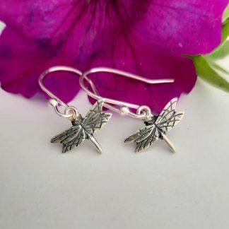 Silver small dragonfly hook earrings