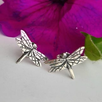 Silver small dragonfly stud earrings